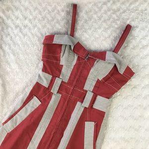 Marc by Marc Jacobs Red Tan Striped Dress Zipper